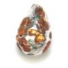 Glass Lamp Bead Pear 13x9mm Crystal/Topaz